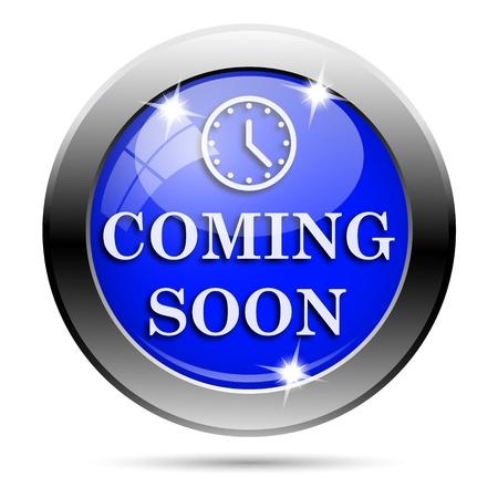 Metallic round glossy icon with white design on blue background Stock Photo