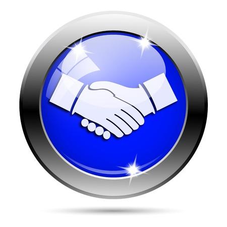 Metallic round glossy icon with white design on blue background Stock Photo - 21987041