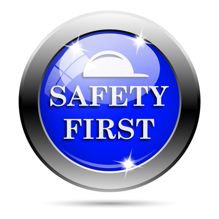 cautionary: Metallic round glossy icon with white design on blue background Stock Photo