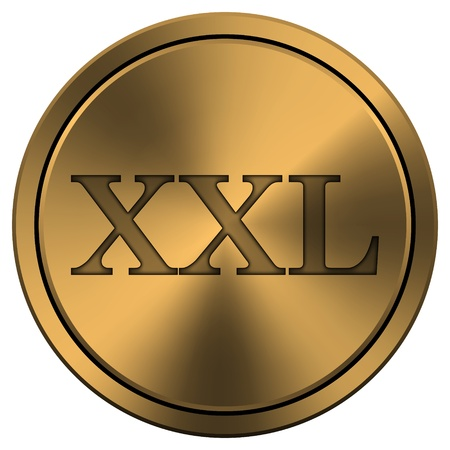 xxl icon: Metallic icon with carved design on copper-colored  background