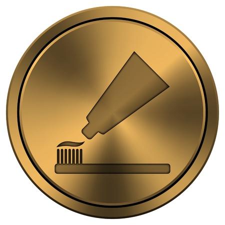 Metallic pictogram met gesneden ontwerp op koper-gekleurde achtergrond