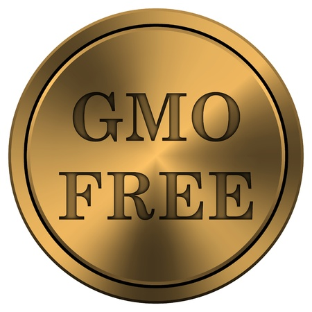 gmo: Metallic icon with carved design on copper-colored  background