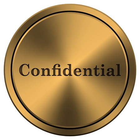 confidentiality: Metallic icon with carved design on copper-colored  background