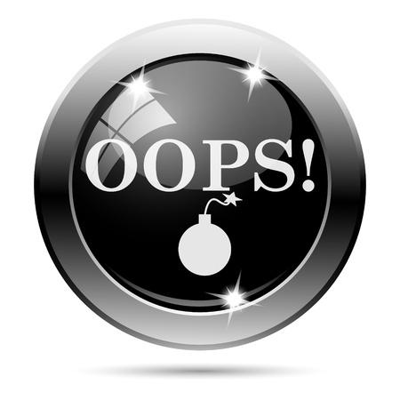 blunder: Metallic round glossy icon with white design on black background Stock Photo