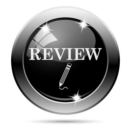 Metallic round glossy icon with white design on black background Stock Photo