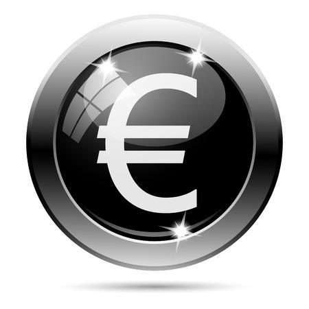 black metallic background: Metallic round glossy icon with white design on black background Stock Photo