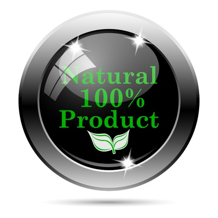 Metallic round glossy icon with green design on black background photo