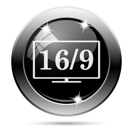 16 9 display: Metallic round glossy icon with white design on black background Stock Photo