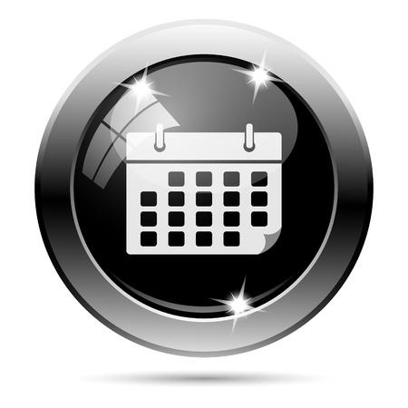 time bound: Metallic round glossy icon with white design on black background Stock Photo