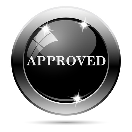 proceed: Metallic round glossy icon with white design on black background Stock Photo