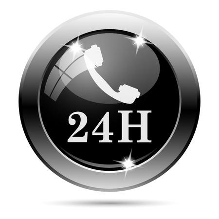 around the clock: Metallic round glossy icon with white design on black background Stock Photo
