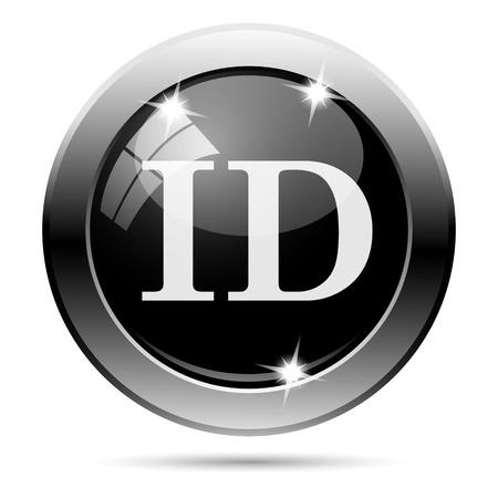 Metallic round glossy icon with white design on black background photo