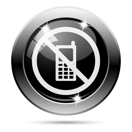 refrain: Metallic round glossy icon with white design on black background Stock Photo