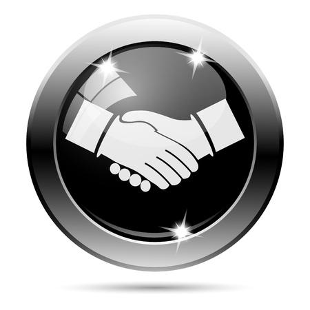 Metallic round glossy icon with white design on black background Stock Photo - 22125705