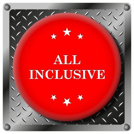 inclusive: Square icon with white design on red plastic and metallic background Stock Photo