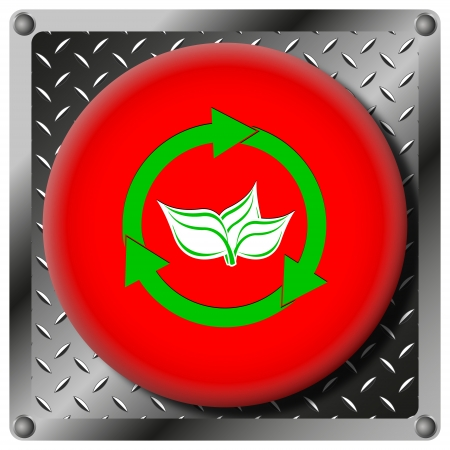 Square icon with white and green design on red plastic and metallic background photo