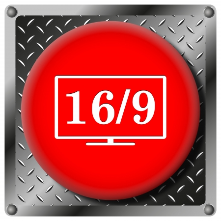 16 9 display: Square icon with white design on red plastic and metallic background Stock Photo