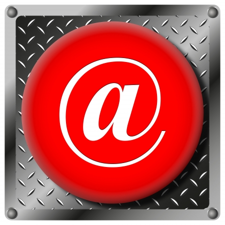 Square icon with white design on red plastic and metallic background photo