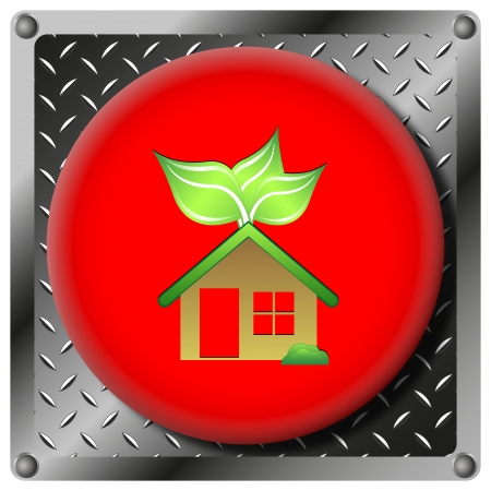 Square icon with green design on red plastic and metallic background Stock Photo - 22227852