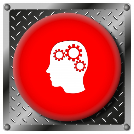 concentration gear: Square icon with white design on red plastic and metallic background Stock Photo