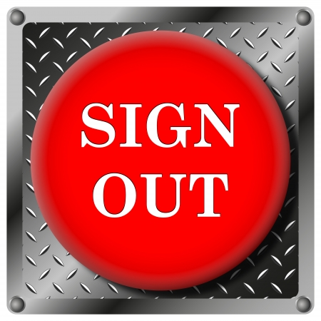 log off: Square icon with white design on red plastic and metallic background Stock Photo