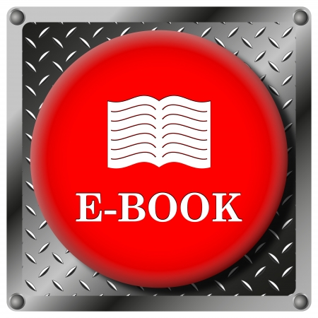 audiobook: Square icon with white design on red plastic and metallic background Stock Photo
