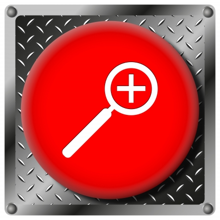 enlarge: Square icon with white design on red plastic and metallic background Stock Photo
