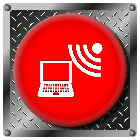 wi: Square icon with white design on red plastic and metallic background Stock Photo