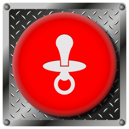 surrogate: Square icon with white design on red plastic and metallic background Stock Photo