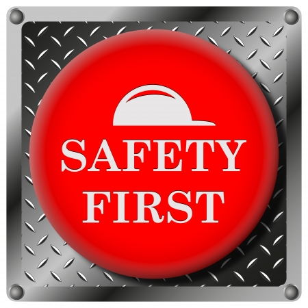 cautionary: Square icon with white design on red plastic and metallic background Stock Photo