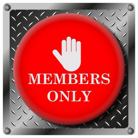 vip area: Square icon with white design on red plastic and metallic background Stock Photo