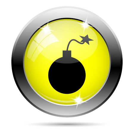 mines: Metallic round glossy icon with black design on yellow background