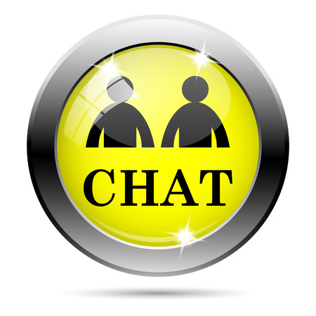 instant message: Metallic round glossy icon with black design on yellow background
