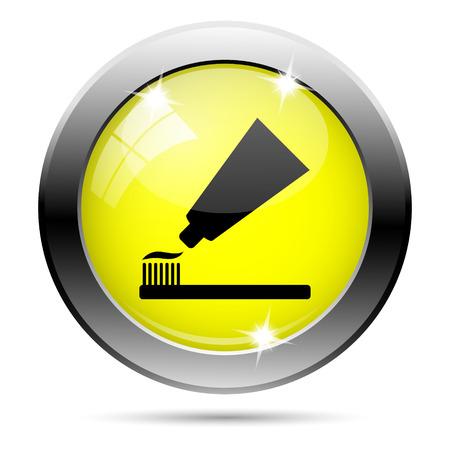 fluoride toothpaste: Metallic round glossy icon with black design on yellow background