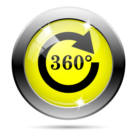 Metallic round glossy icon with black design on yellow background photo