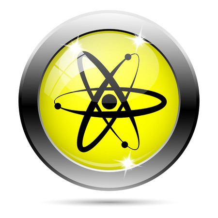 Metallic round glossy icon with black design on yellow background Stock Photo - 22287259