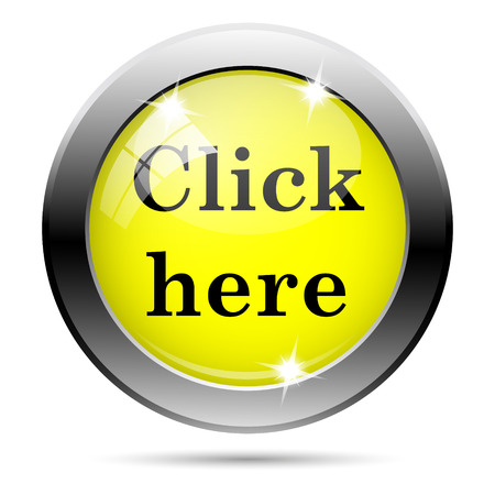 clicking: Metallic round glossy icon with black design on yellow background