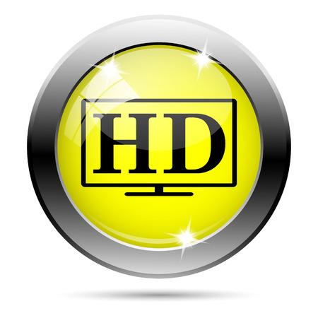 Metallic round glossy icon with black design on yellow background Stock Photo - 22287319