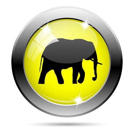 endanger: Metallic round glossy icon with black design on yellow background