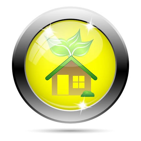 Metallic round glossy icon with green design on yellow background Stock Photo - 22287456