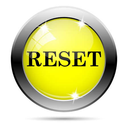 revision: Metallic round glossy icon with black design on yellow background