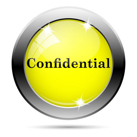 confidentiality: Metallic round glossy icon with black design on yellow background