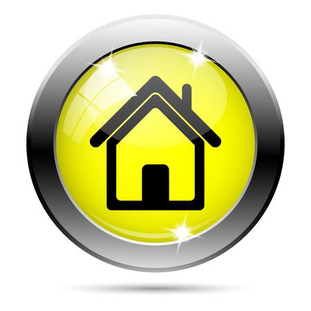 Metallic round glossy icon with black design on yellow background Stock Photo - 22287530
