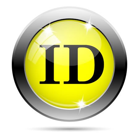 Metallic round glossy icon with black design on yellow background photo