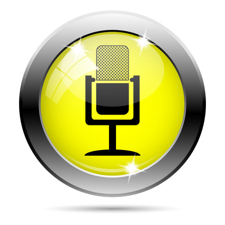 podcasting: Metallic round glossy icon with black design on yellow background