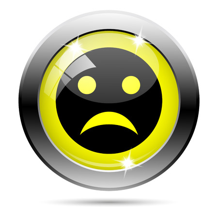 sad face: Metallic round glossy icon with black design on yellow background