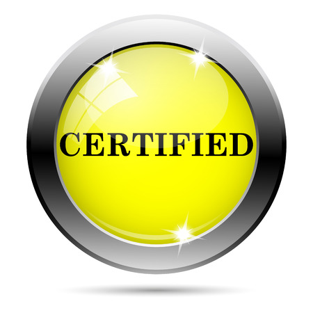 ratification: Metallic round glossy icon with black design on yellow background
