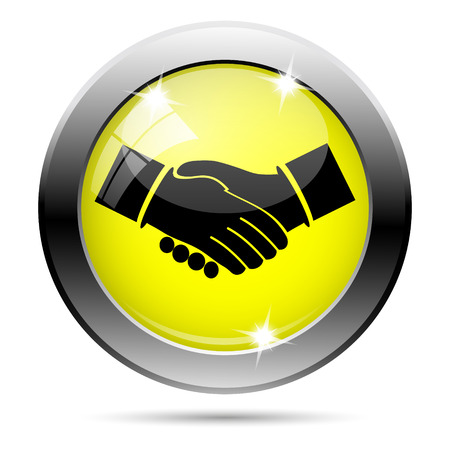 Metallic round glossy icon with black design on yellow background Stock Photo - 22287766