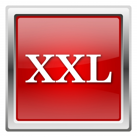 xxl icon: Metallic icon with white design on red background Stock Photo