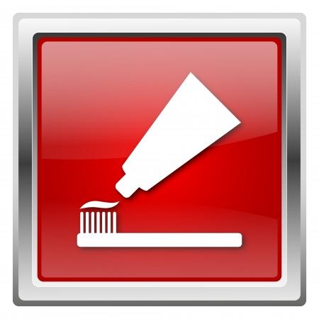 fluoride: Metallic icon with white design on red background Stock Photo